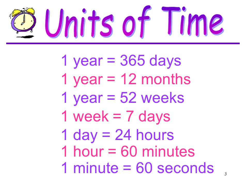 Units of Time 1 year = 365 days. 1 year = 12 months. 1