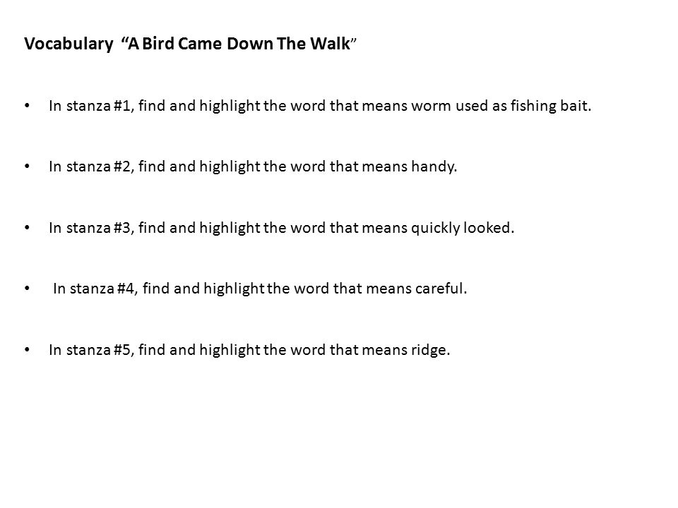a bird came down poem