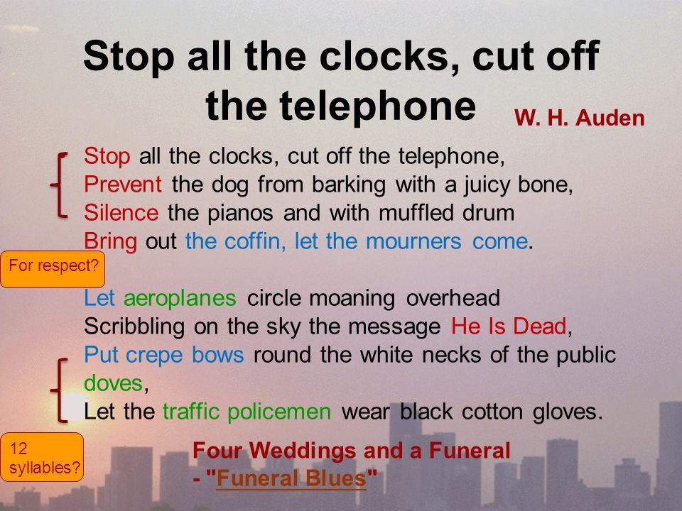 stop the clocks poem
