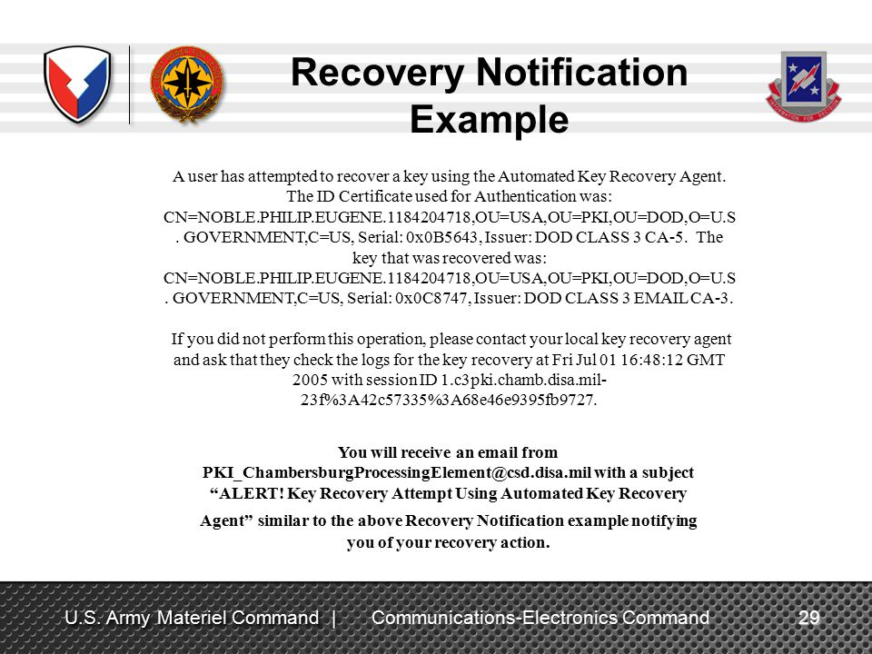 DoD PKI Automatic Key Recovery - ppt video online download