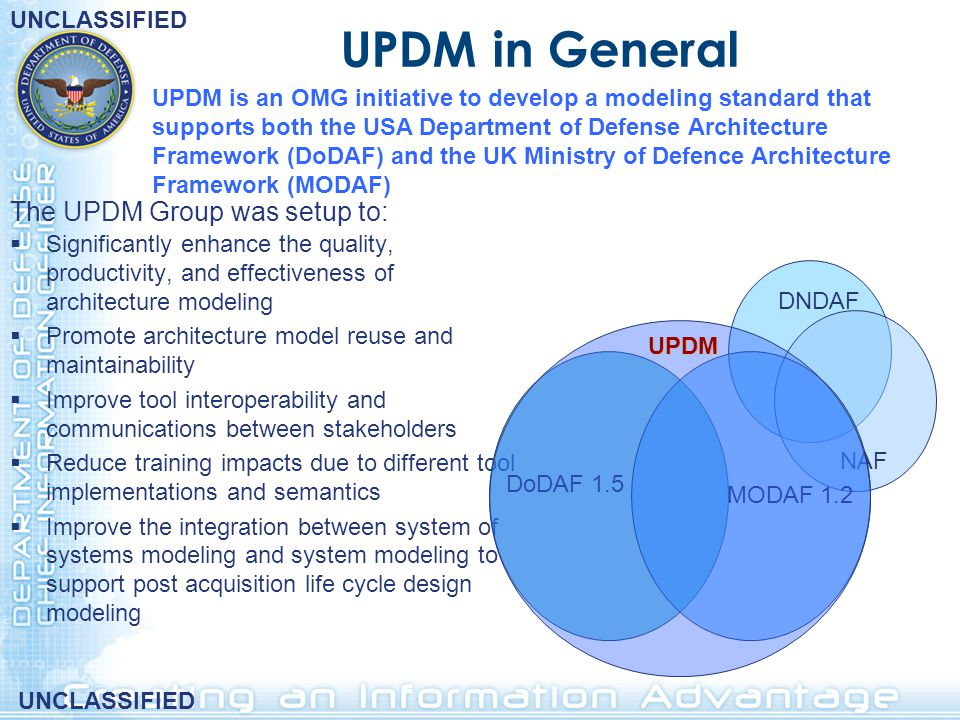 UPDM in General The UPDM Group was setup to: