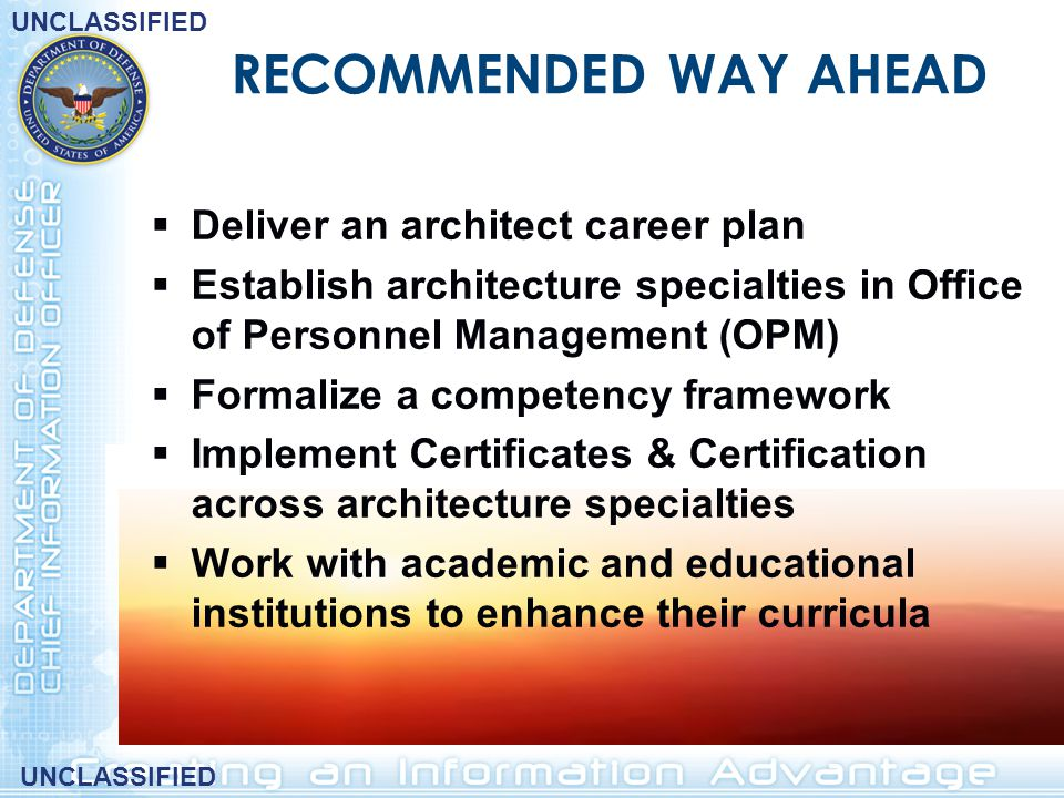 RECOMMENDED WAY AHEAD Deliver an architect career plan
