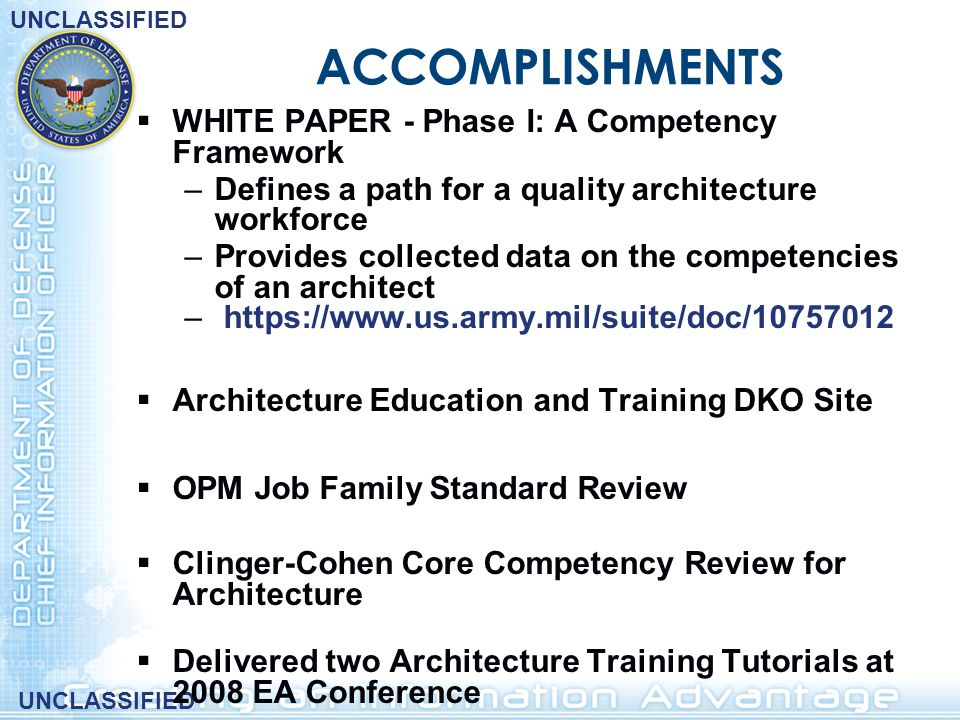 ACCOMPLISHMENTS WHITE PAPER - Phase I: A Competency Framework
