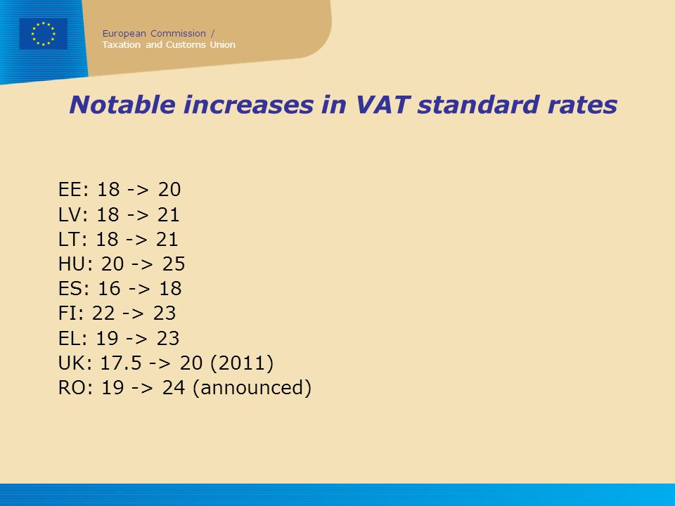 Notable increases in VAT standard rates