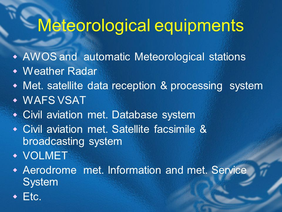 Meteorological equipments