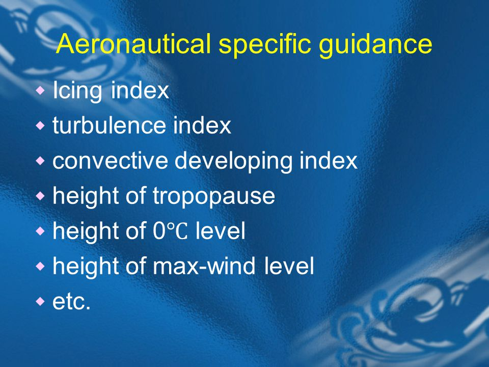 Aeronautical specific guidance