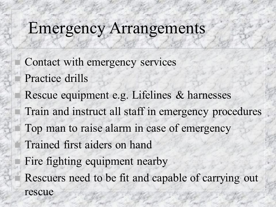 Emergency Arrangements