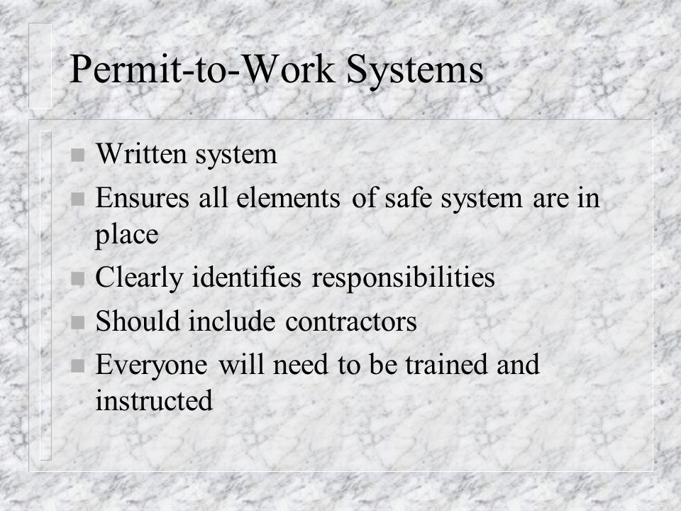 Permit-to-Work Systems