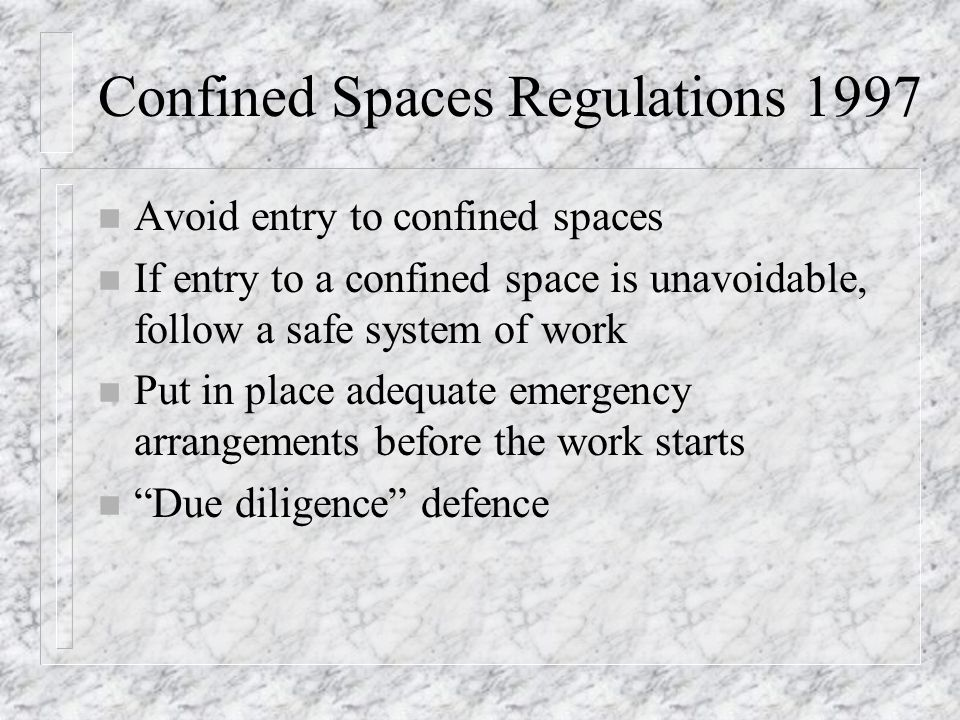Confined Spaces Regulations 1997