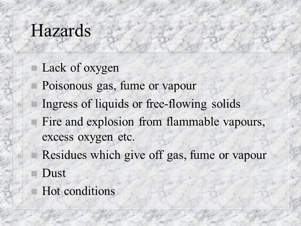 Hazards Lack of oxygen Poisonous gas, fume or vapour