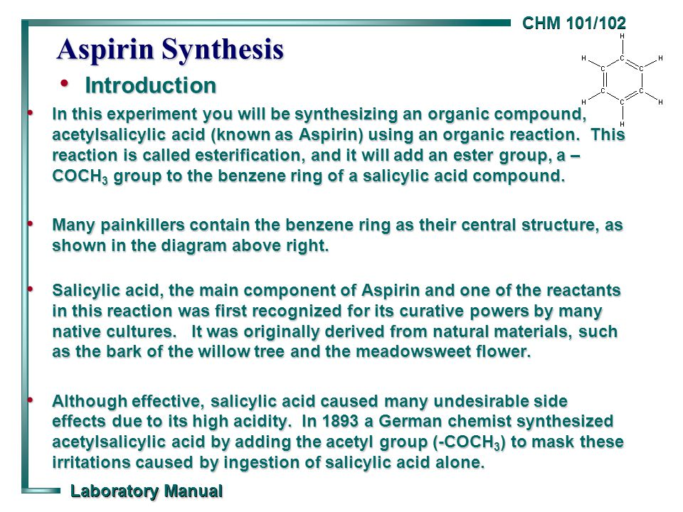 synthesis of aspirin balanced equation