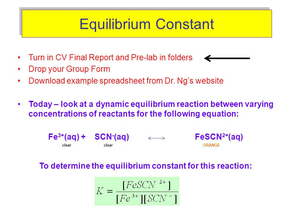 Equilibrium Constant Turn in CV Final Report and Pre-lab in