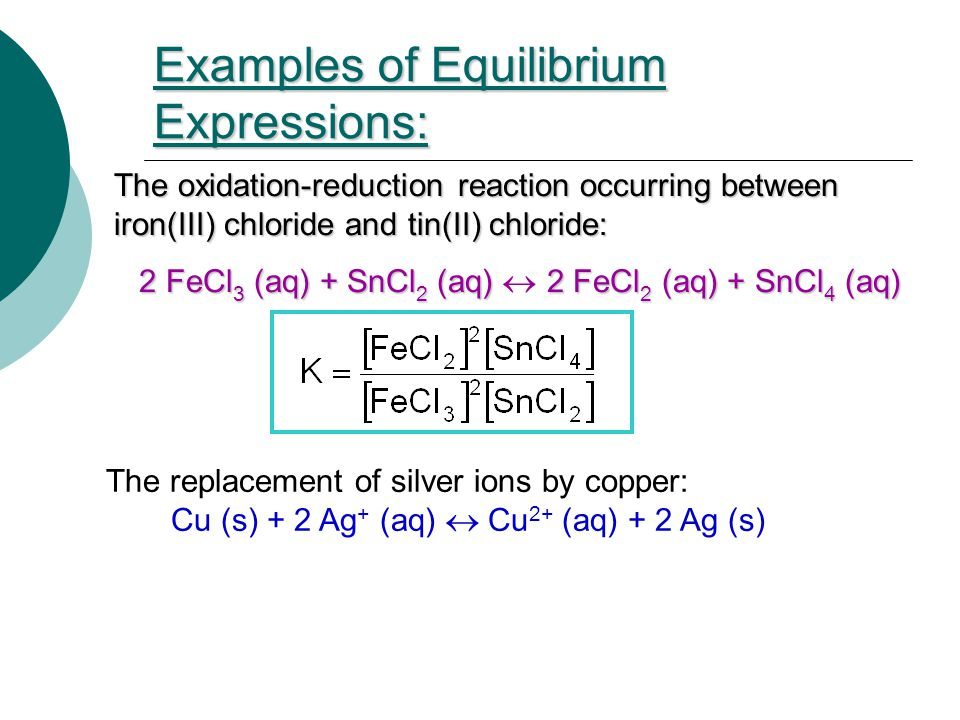 Examples of Equilibrium Expressions: