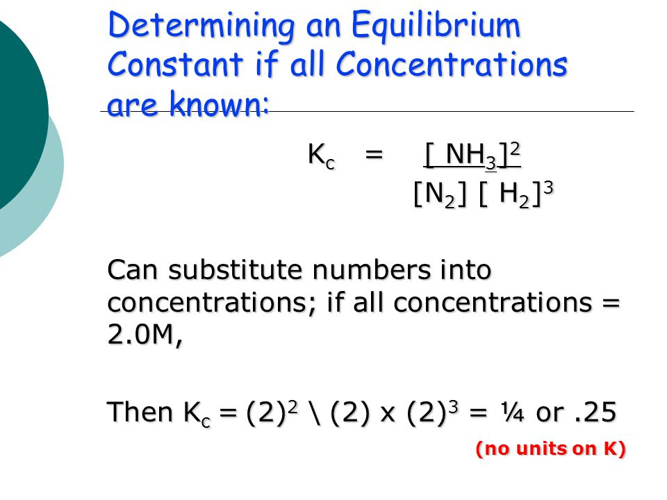 Determining an Equilibrium Constant if all Concentrations are known: