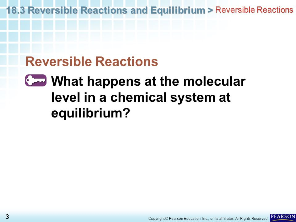 Reversible Reactions Reversible Reactions. What happens at the molecular level in a chemical system at equilibrium