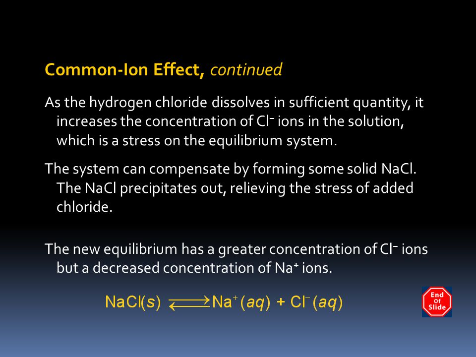 Common-Ion Effect, continued
