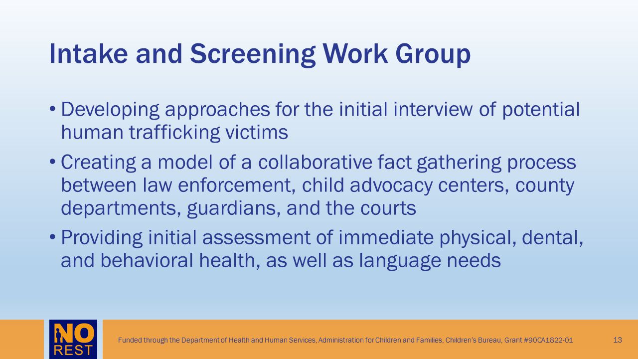 Intake and Screening Work Group