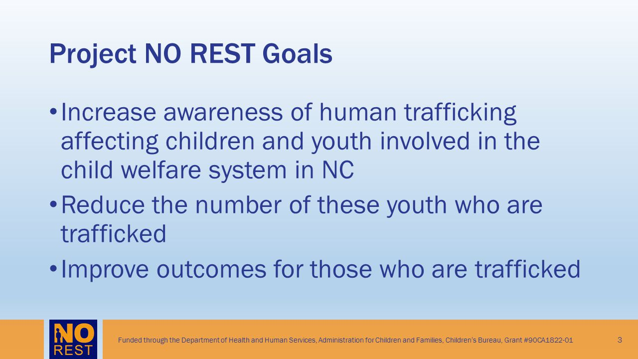Project NO REST Goals Increase awareness of human trafficking affecting children and youth involved in the child welfare system in NC.