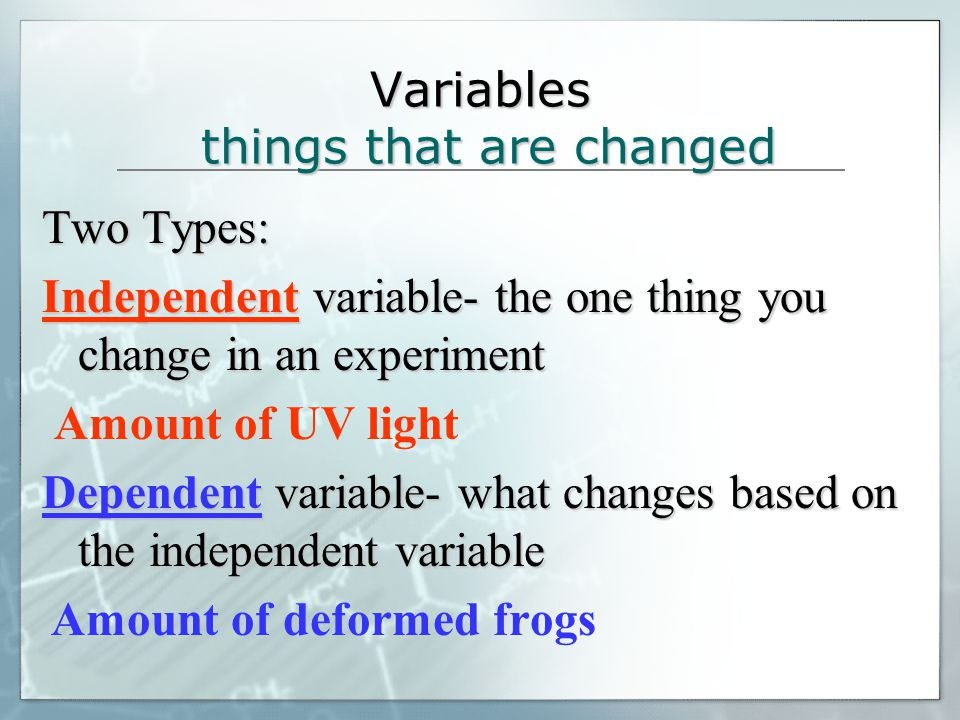 Variables things that are changed