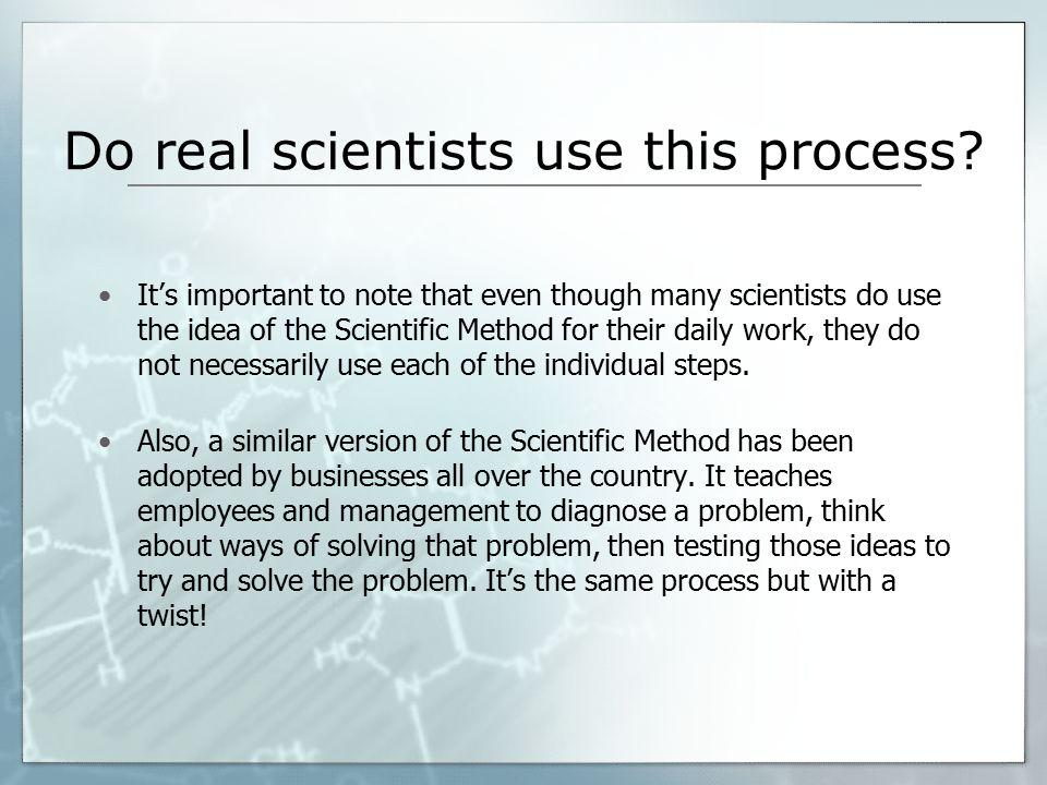 Do real scientists use this process