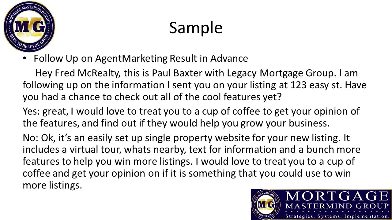 Sample Follow Up on AgentMarketing Result in Advance