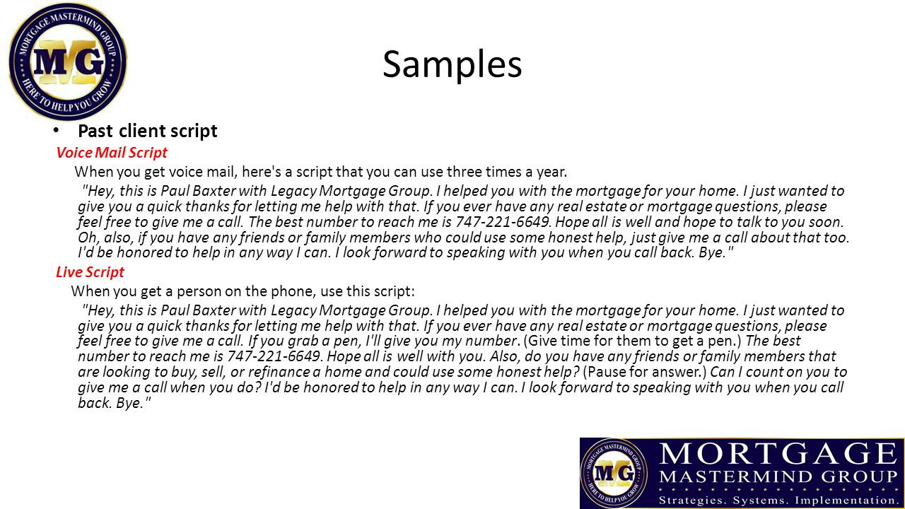 Samples Past client script Voice Mail Script