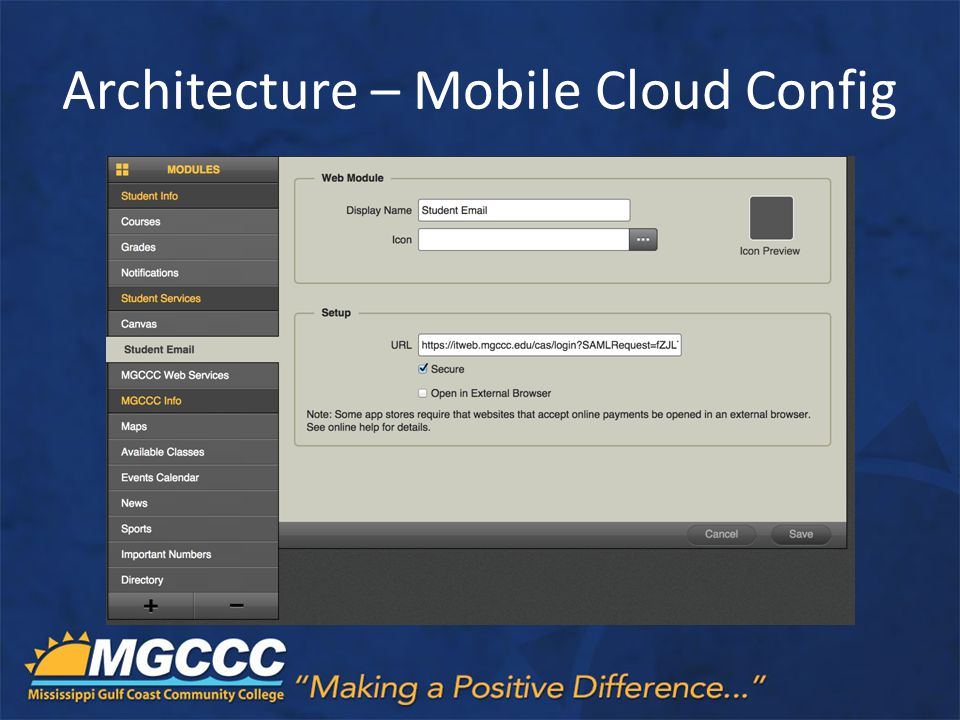 Architecture – Mobile Cloud Config