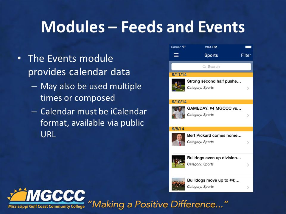 Modules – Feeds and Events