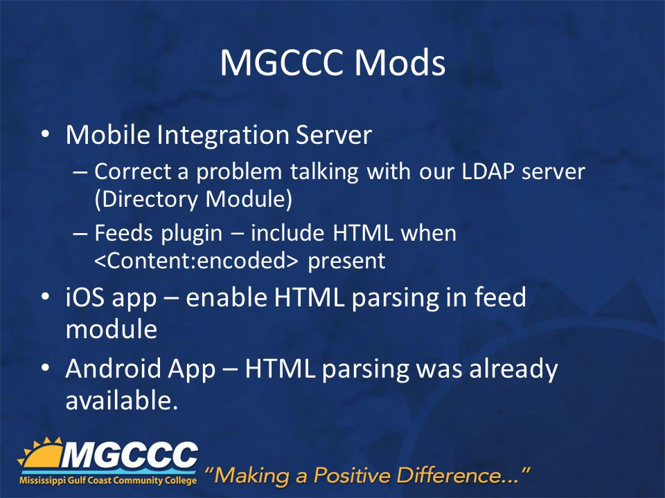 MGCCC Mods Mobile Integration Server