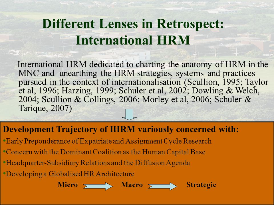 international human resource management in retrospect and prospect scullion hugh morley michael