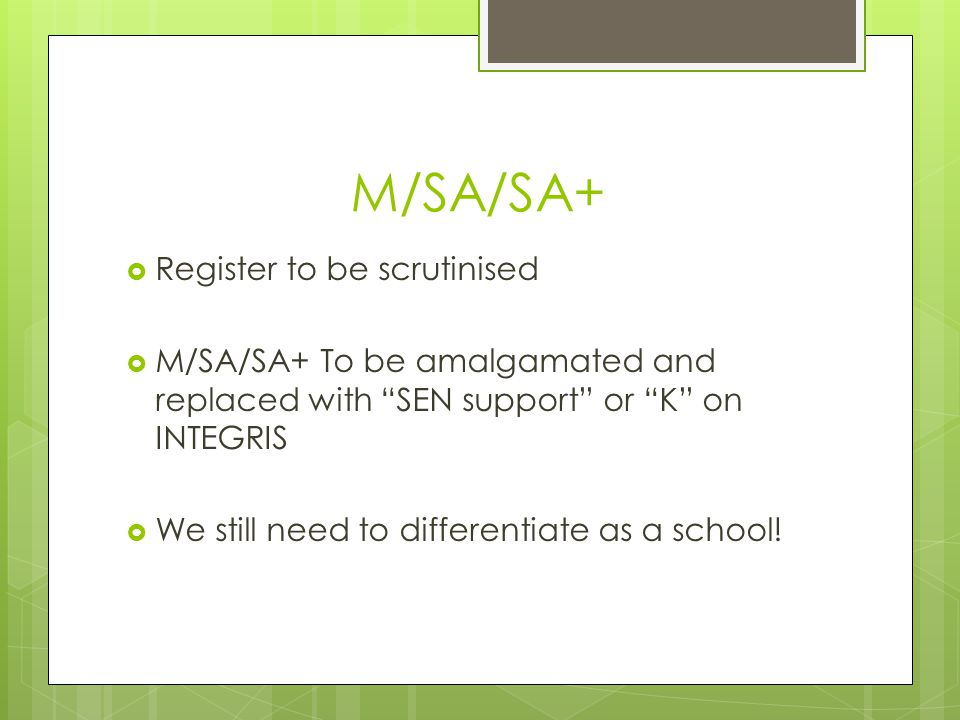 M/SA/SA+ Register to be scrutinised