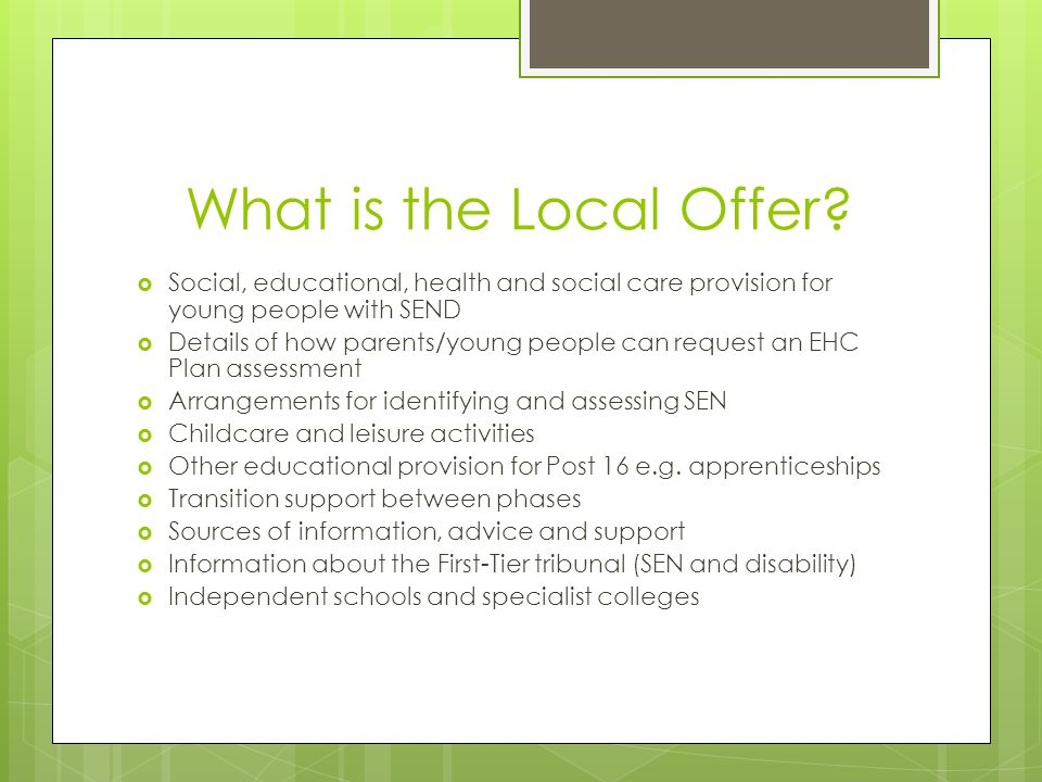 What is the Local Offer Social, educational, health and social care provision for young people with SEND.