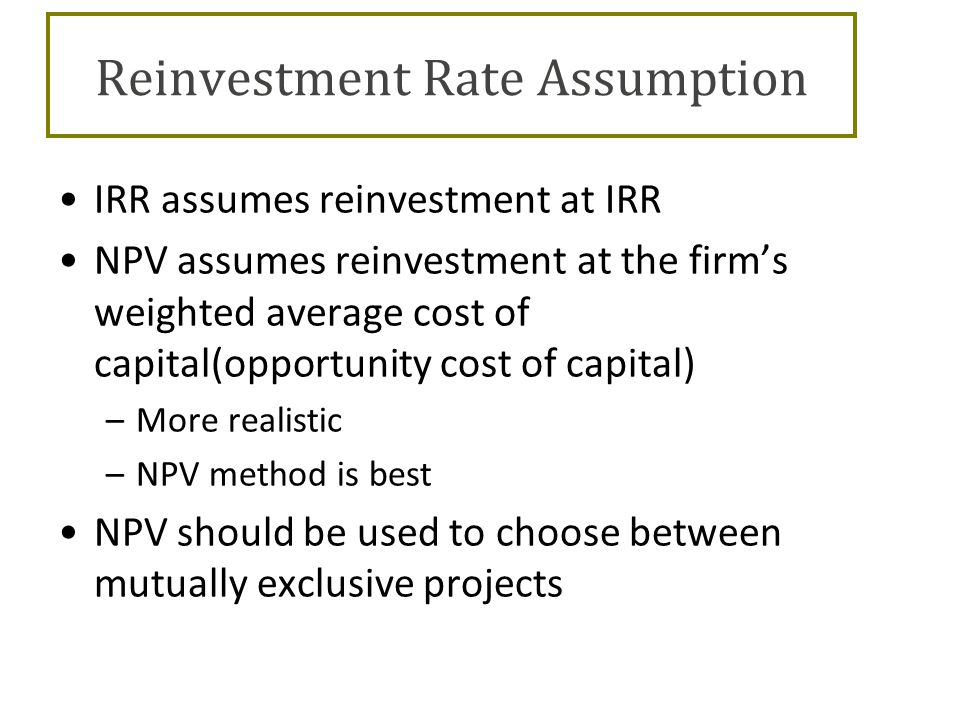 Reinvestment rate assumption irr alternative investment trust distributions of capital gains