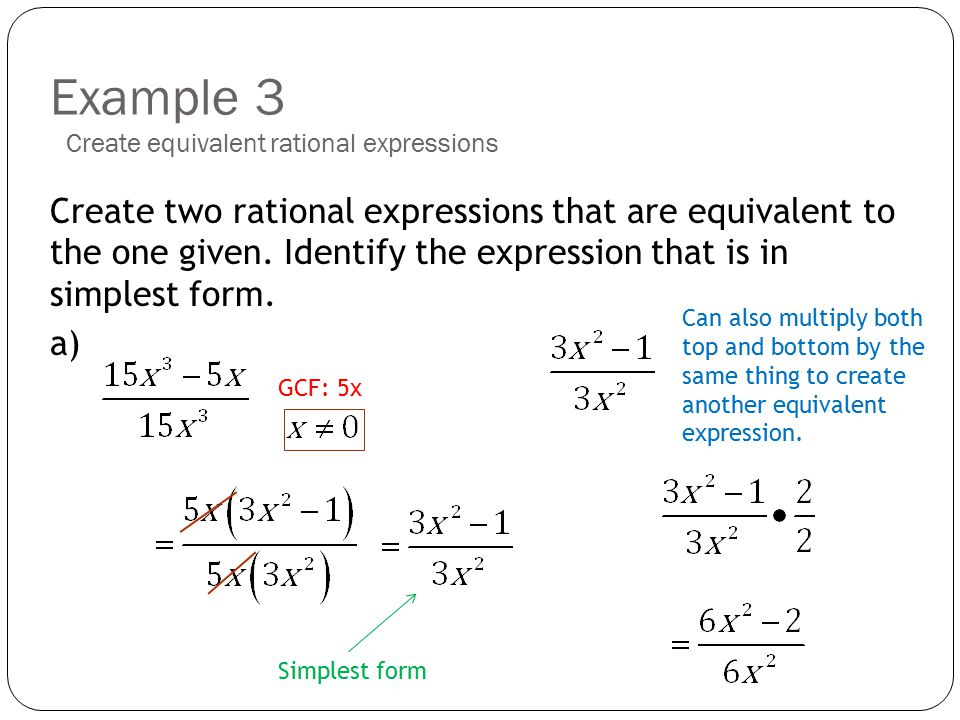 simplest form rational expression examples  Topic 11: Simplifying Rational Expressions - ppt download