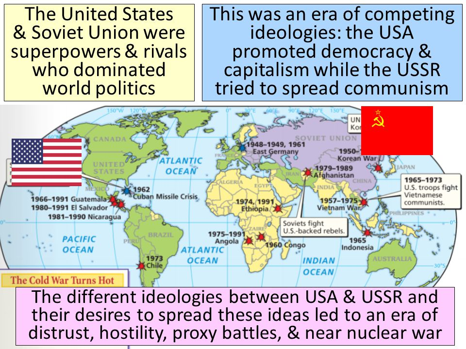 The United States & Soviet Union were superpowers & rivals who dominated world politics