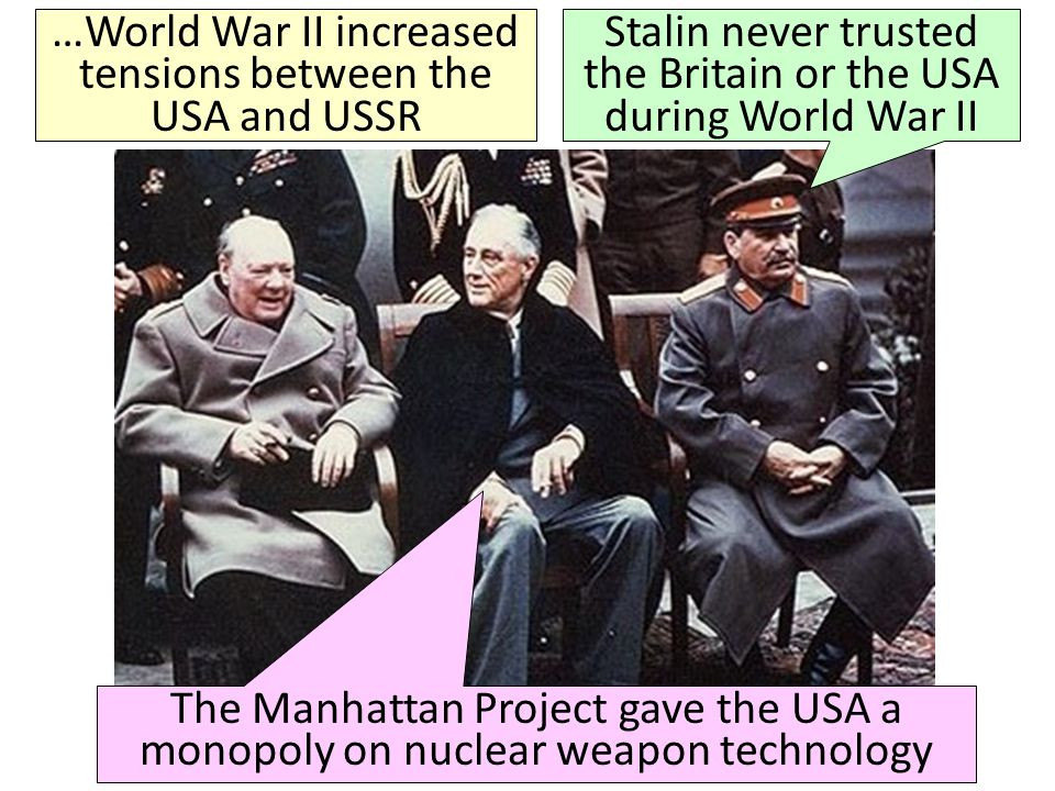 …World War II increased tensions between the USA and USSR
