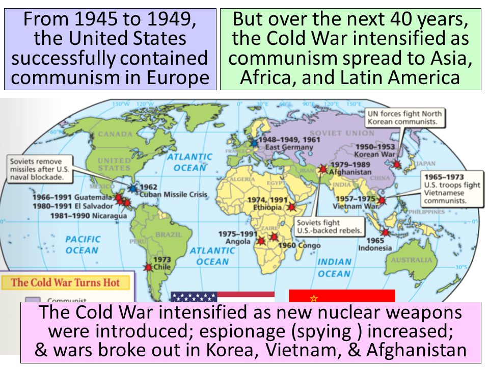 From 1945 to 1949, the United States successfully contained communism in Europe