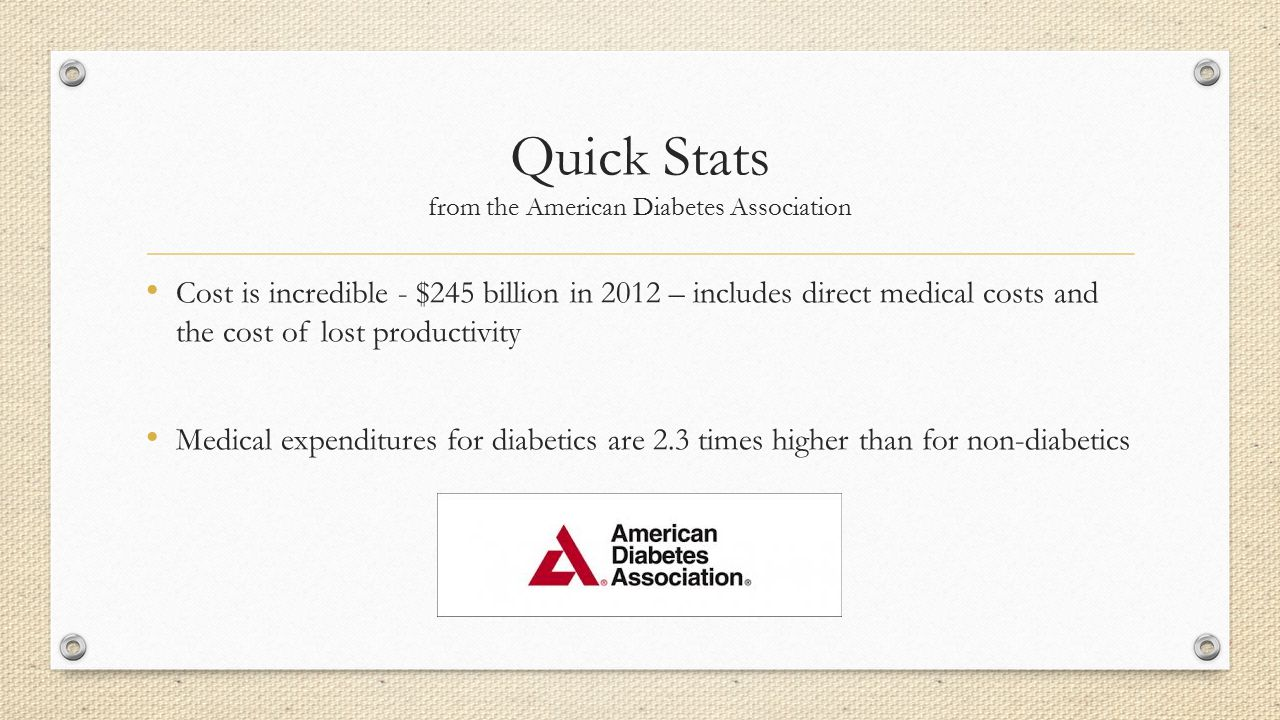 Quick Stats from the American Diabetes Association