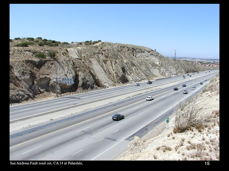 San Andreas Fault road cut, CA 14 at Palmdale,