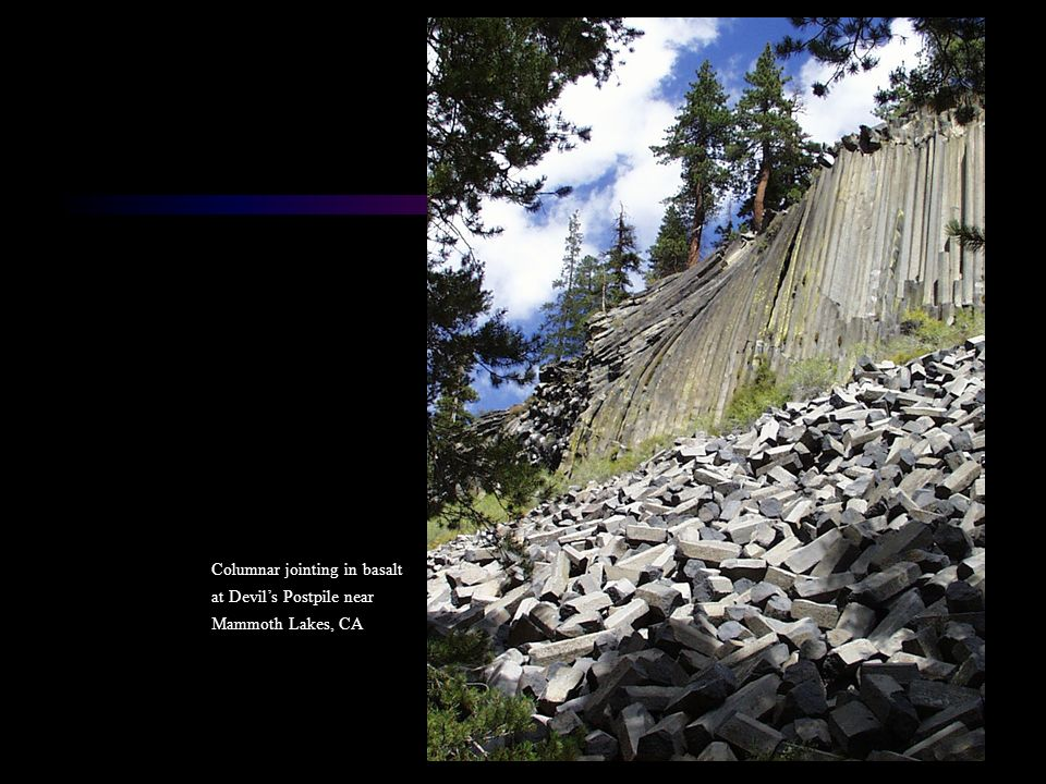Columnar jointing in basalt at Devil's Postpile near Mammoth Lakes, CA