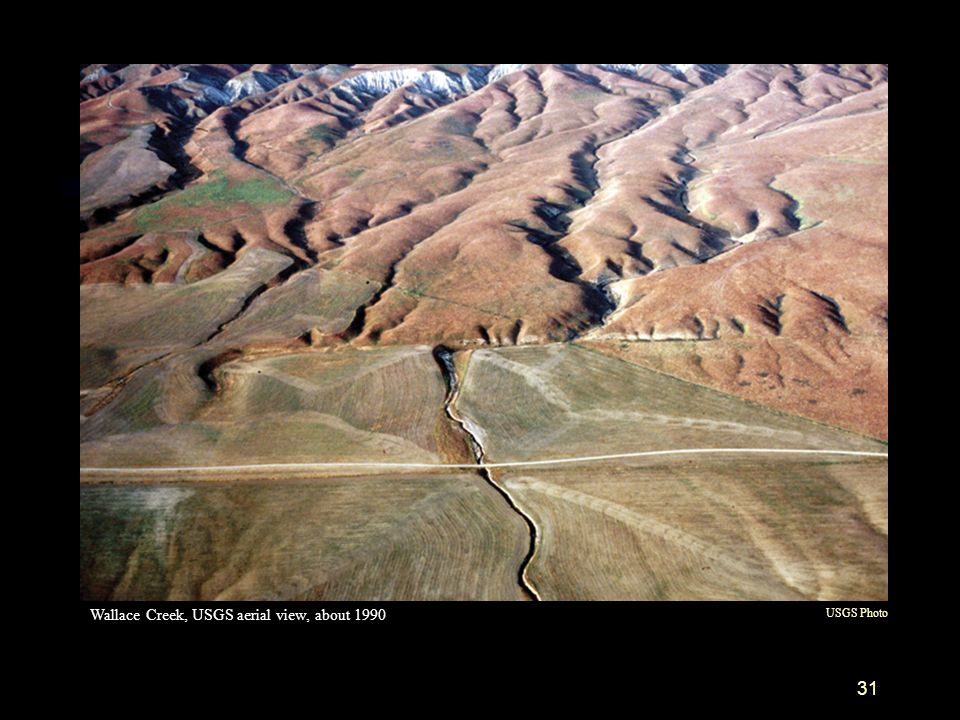 Wallace Creek, USGS aerial view, about 1990