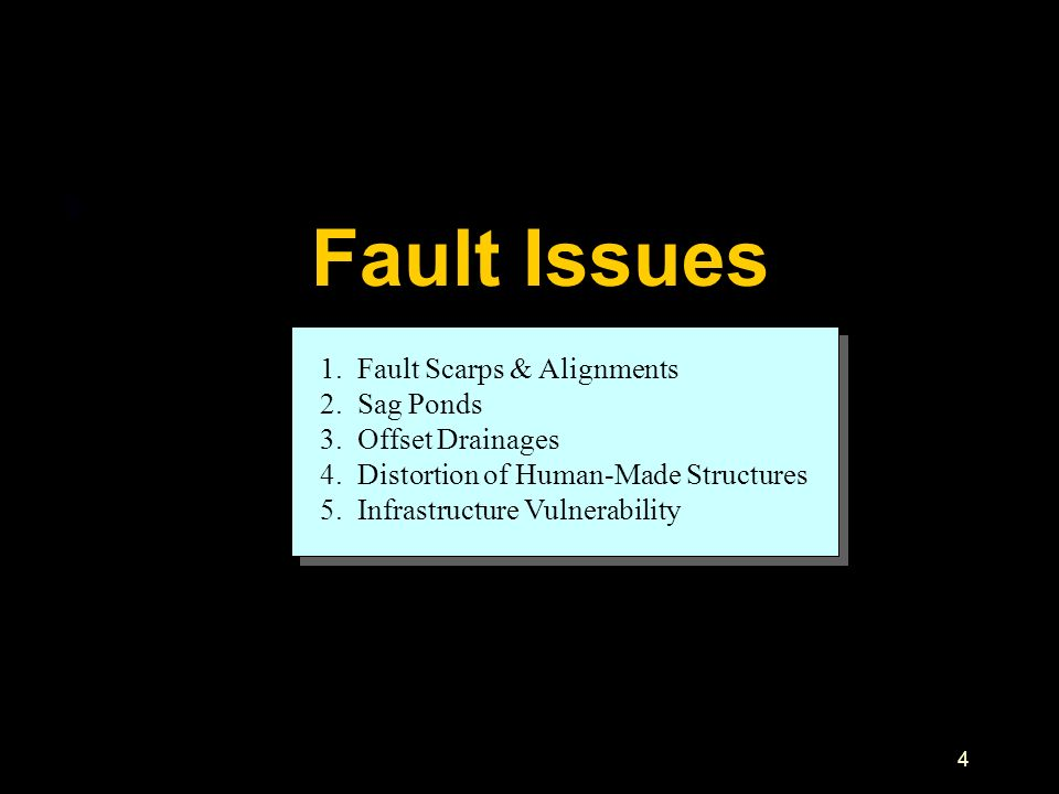 Fault Issues 1. Fault Scarps & Alignments 2. Sag Ponds