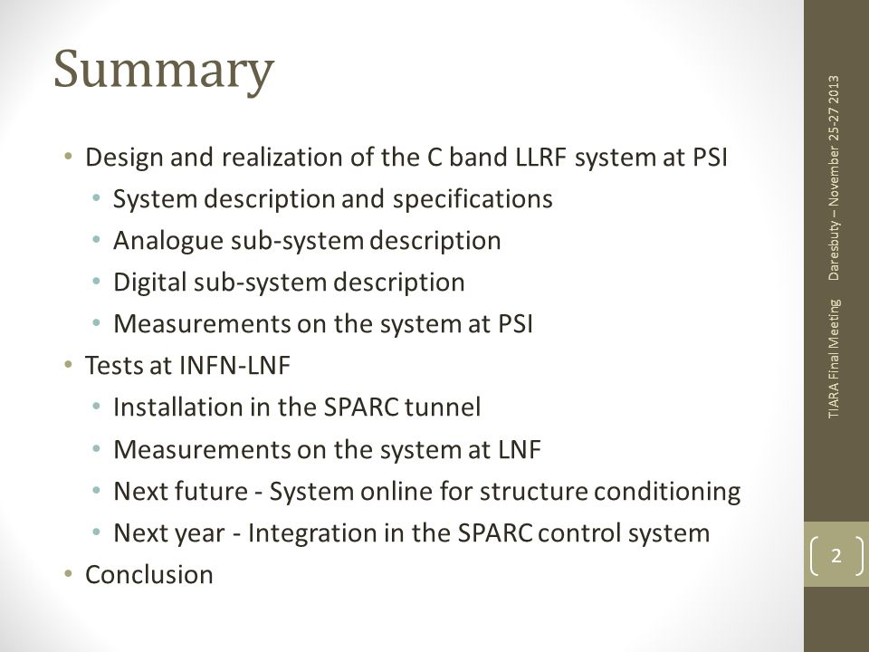 Summary Design and realization of the C band LLRF system at PSI