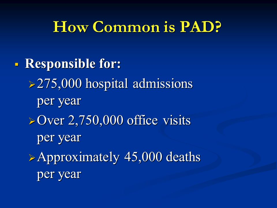 How Common is PAD Responsible for: