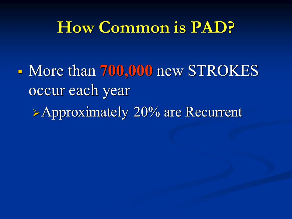 How Common is PAD More than 700,000 new STROKES occur each year