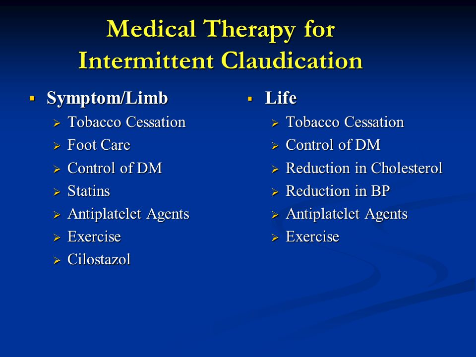 Medical Therapy for Intermittent Claudication