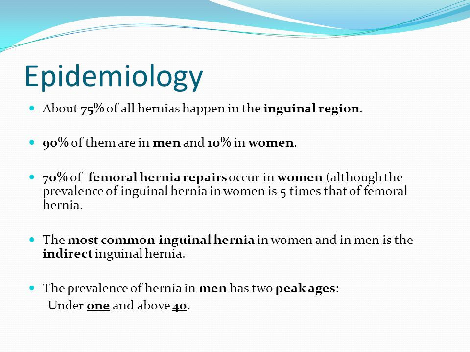 Epidemiology About 75% of all hernias happen in the inguinal region.