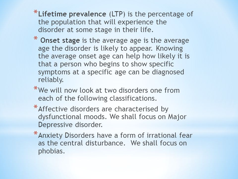 Lifetime prevalence (LTP) is the percentage of the population that will experience the disorder at some stage in their life.