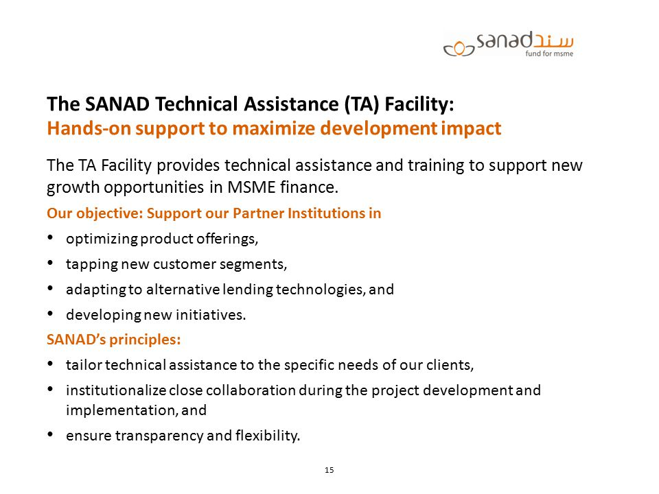 The SANAD Technical Assistance (TA) Facility: Hands-on support to maximize development impact