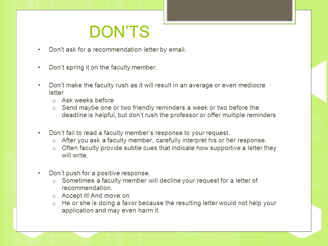 How to request a letter of recommendation ppt video online download donts don t ask for a recommendation letter by expocarfo Choice Image